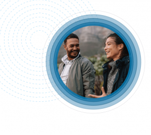 Two people laughing in a design bubble
