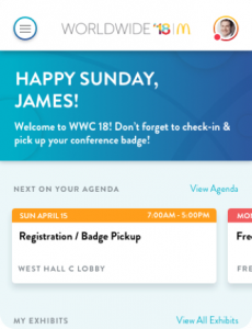 Welcome screen of app with message 'Happy Sunday James'