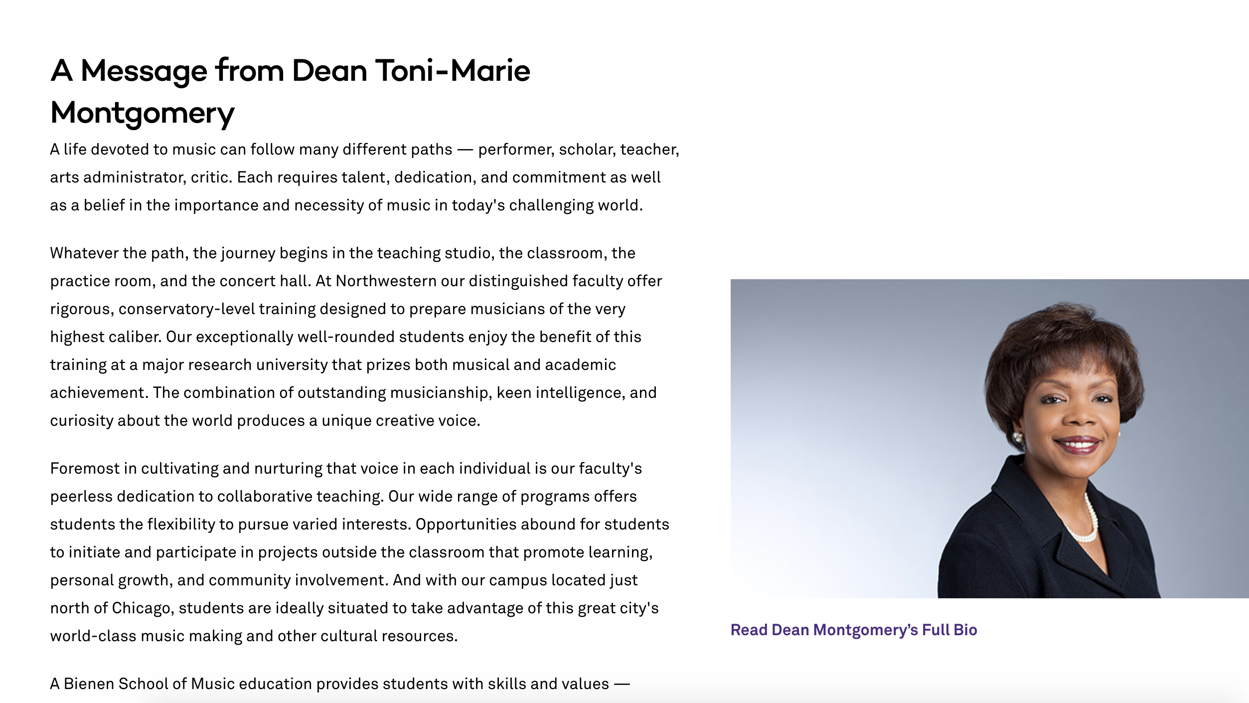 Dean Toni-Marie Montgomery opening letter on About page
