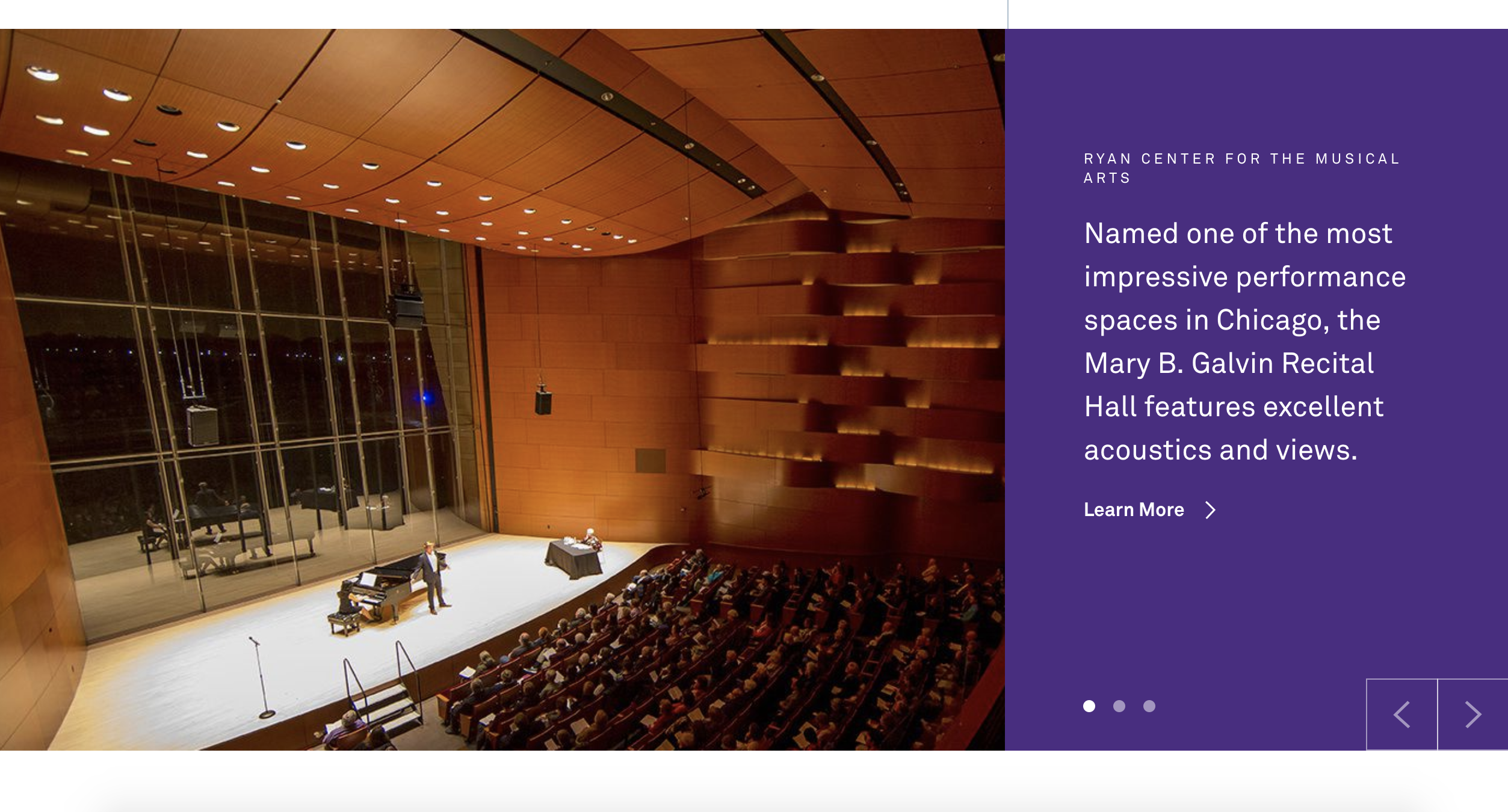 Homepage slider section for the Ryan Center for the Musical Arts