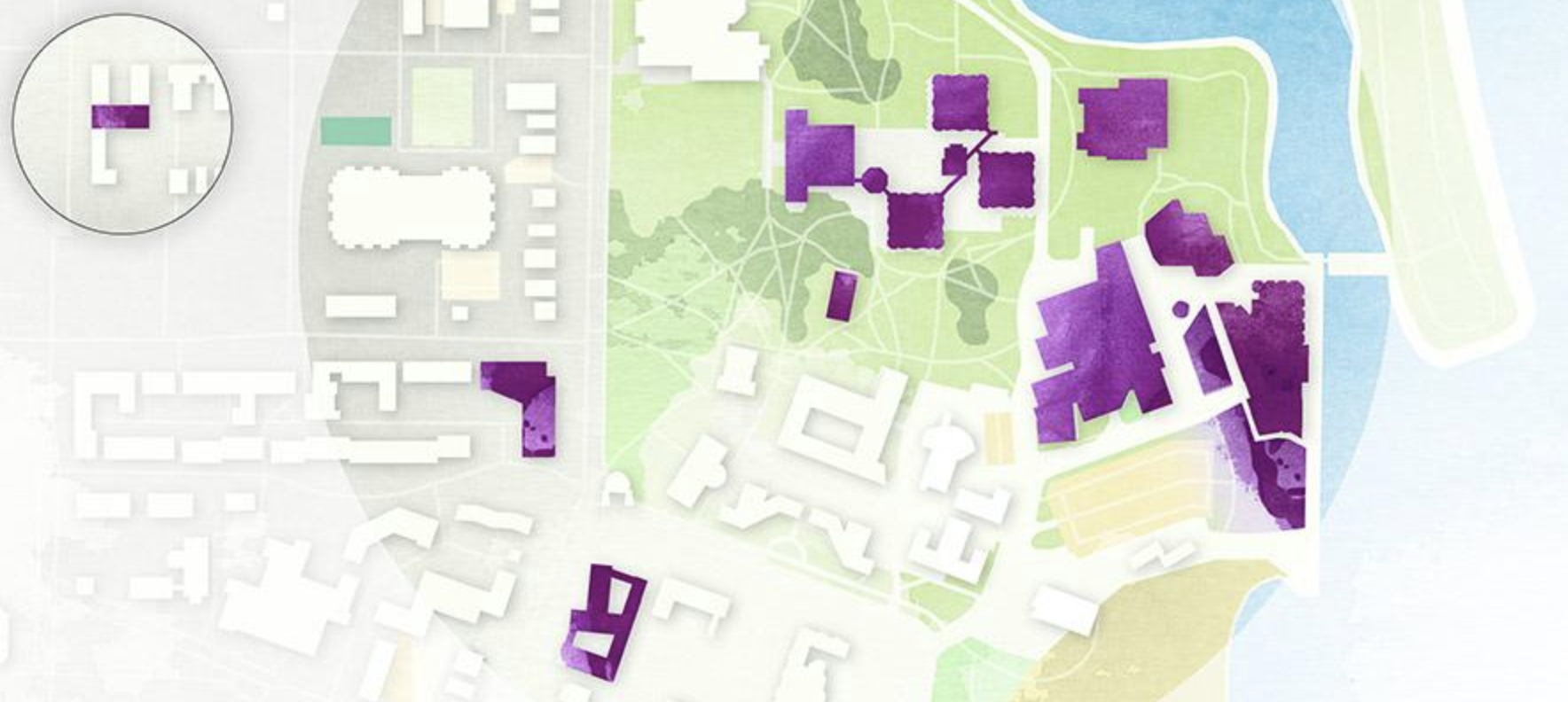 Map of buildings grouped closely together on campus