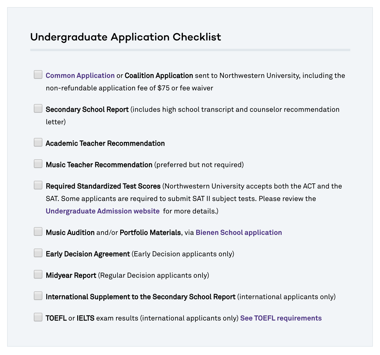 Undergraduate Application Checklist with click-able boxes