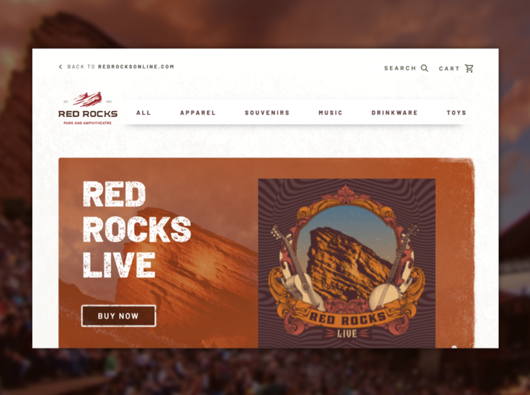 Red Rocks Store landing page