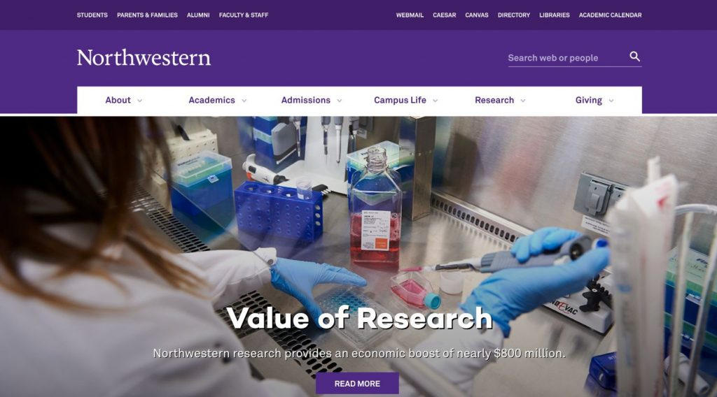 Northwestern University's homepage