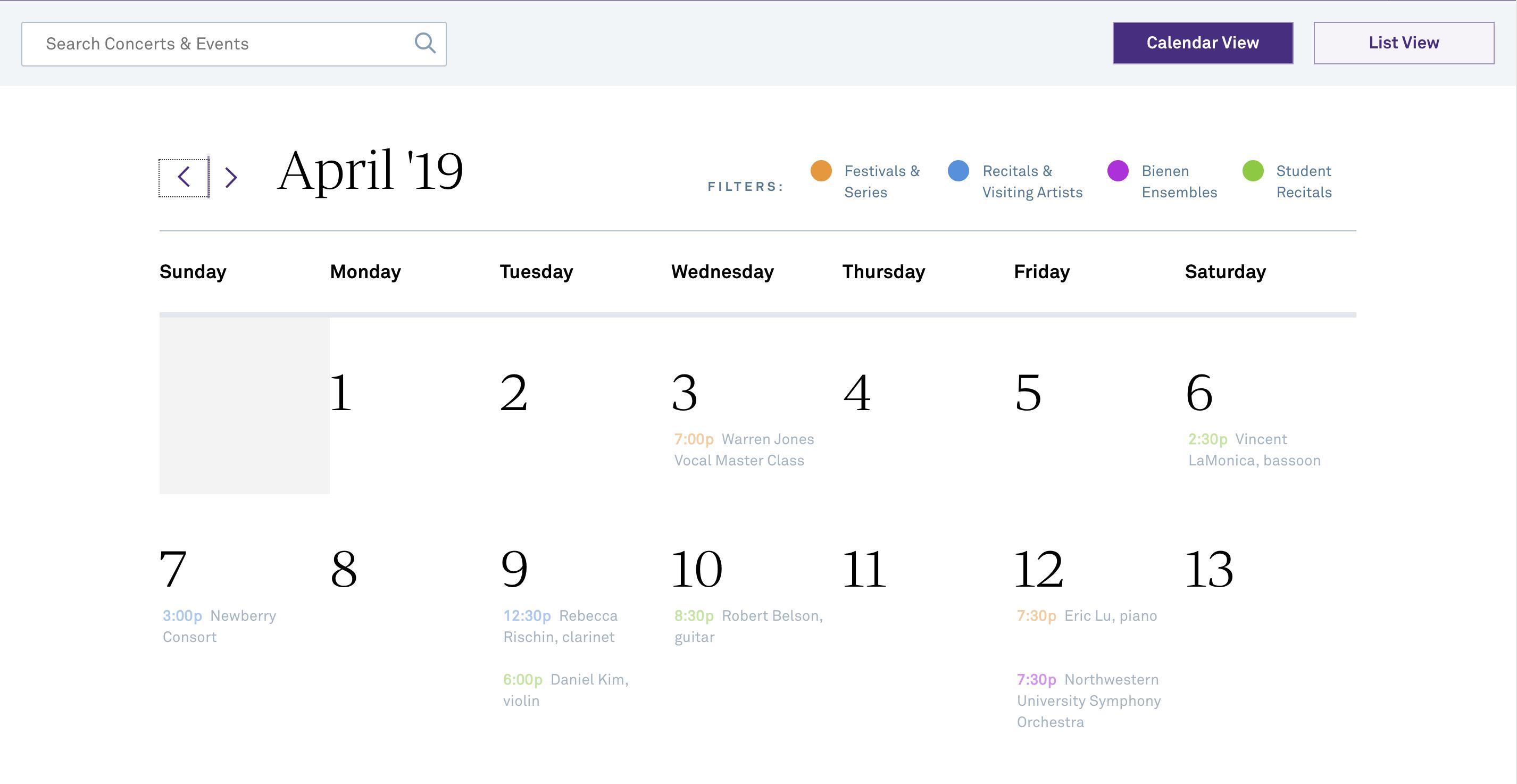 April 2019 view of the calendar