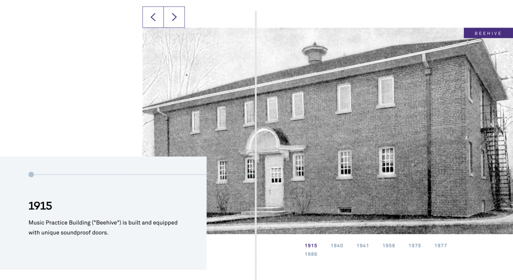 """An old image of the Music Practice Building """"Beehive"""" with the year 1915"""