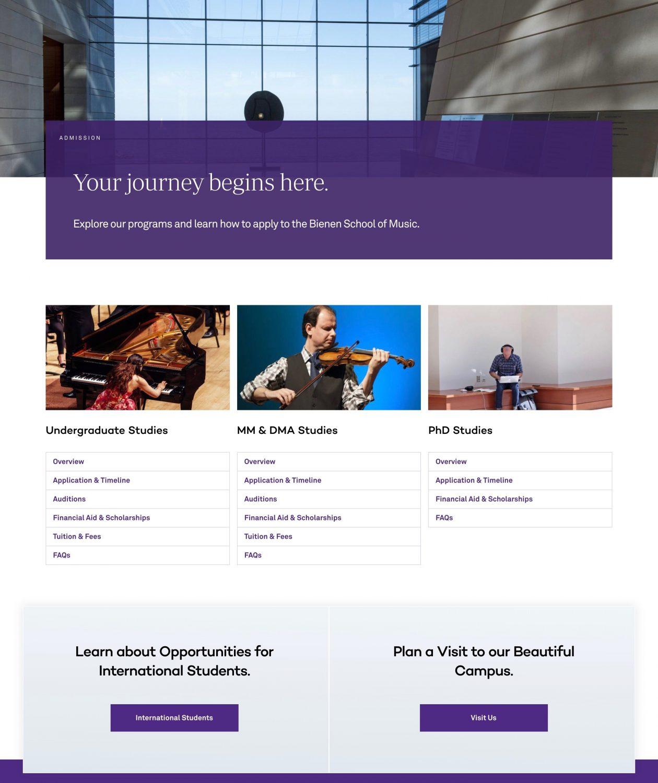 Bienen School of Music admission landing page