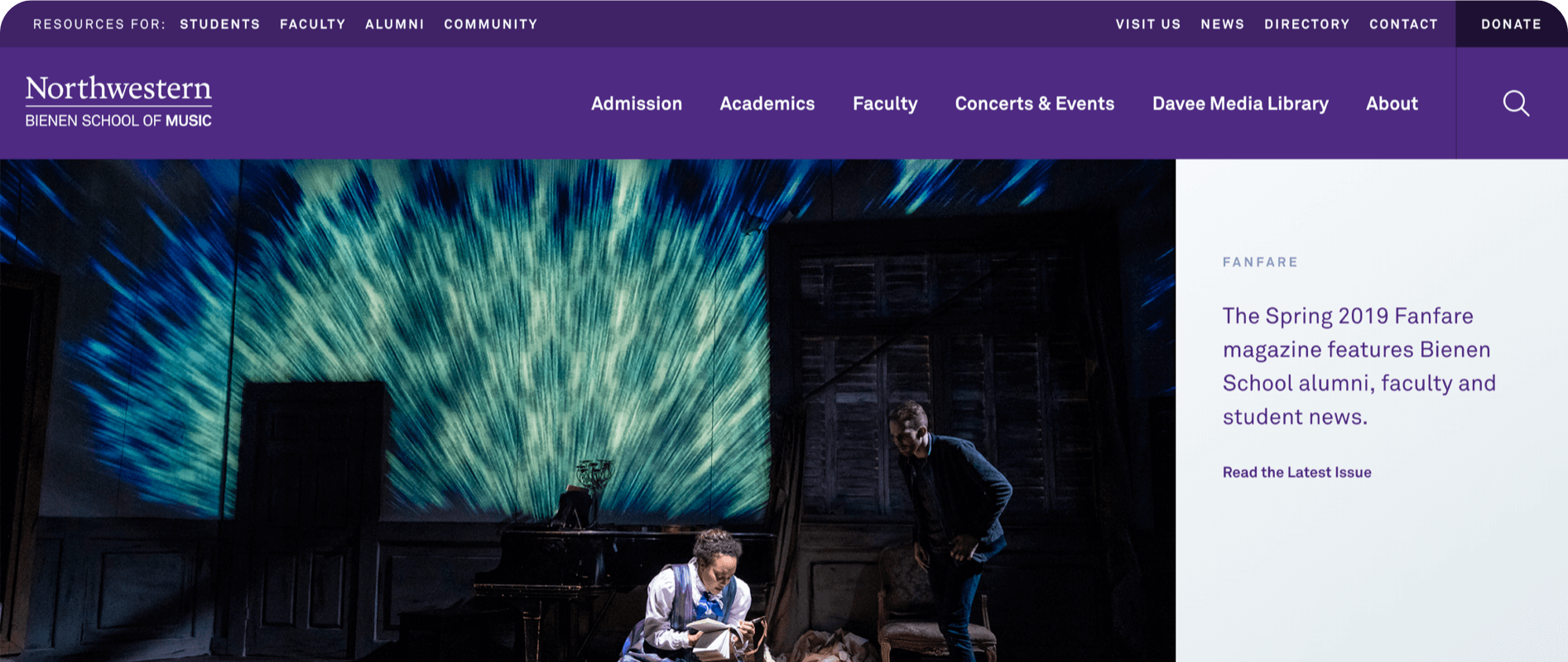Northwestern Bienen School of Music new homepage first impression
