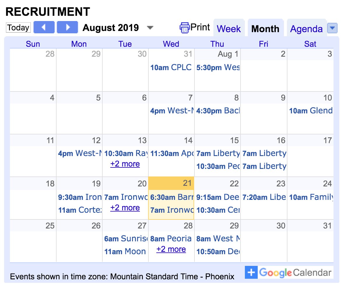 student recruitment on the road calendar