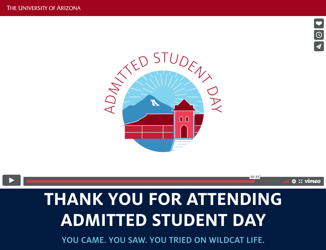 Arizona's admitted students day video that says 'admitted student day