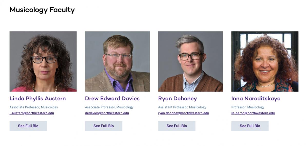 four musicology faculty members at northwestern's bienen school of music