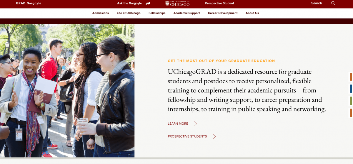 screenshot of u chicago grad's marketing website