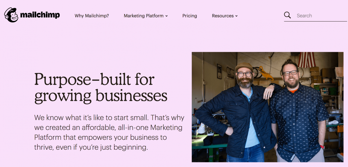 mailchimp example of product marketing