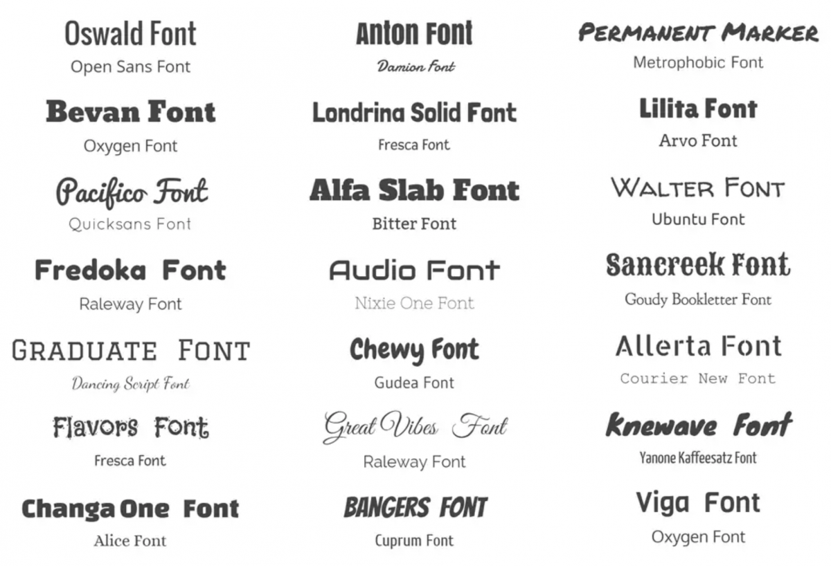 complementary font combinations