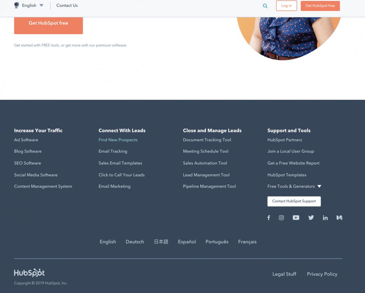 hubspot website footer