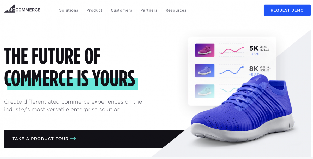 use of white space in design of bigcommerce homepage