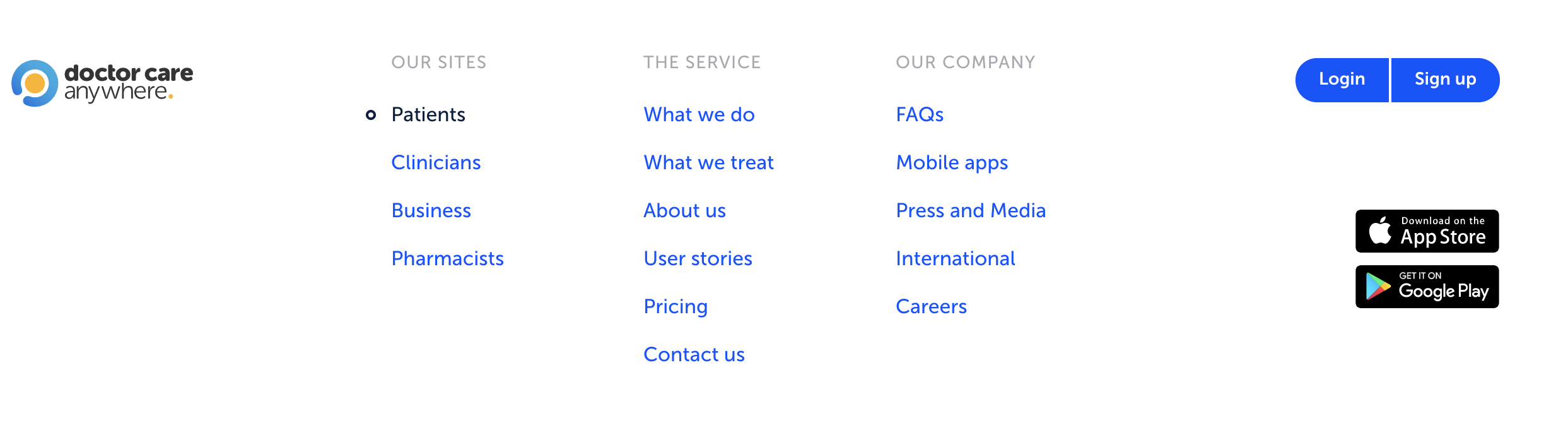 doctors who care website footer