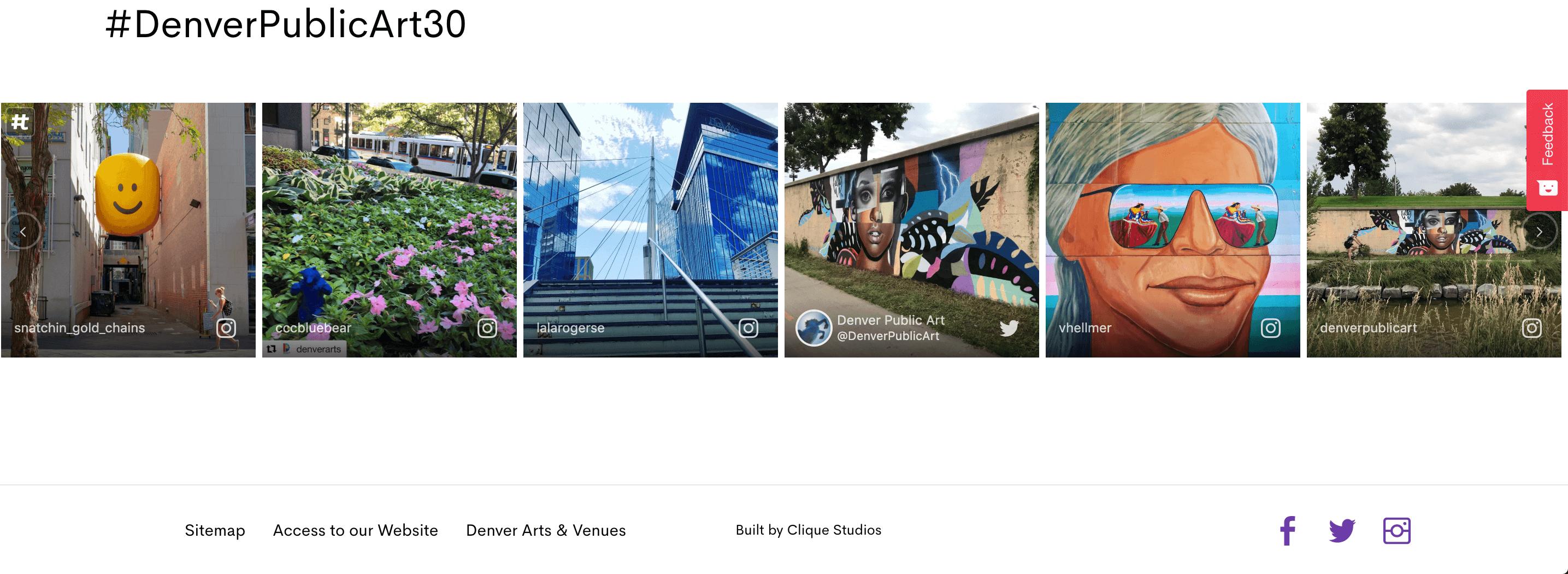 social icons in website footer denver public art website