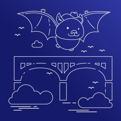 An illustration of a bat wearing a cowboy hat flying over a bridge.