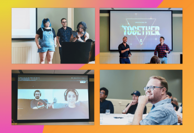 Collage of State of the Clique meeting; Employees smiling, presenting, and Clique partners dancing.
