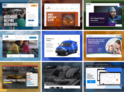 A collage of homepage for a variety of websites.