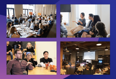 Collage of Clique employees giving presentations to rooms full of students and/or professionals.