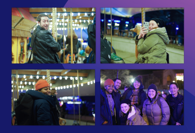 Collage of Clique employees riding a carousel and a group photo at ZooLights