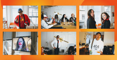 Collage of Clique employees in costumes including Ash Catcher, vampires, a clown, and a 404 page.