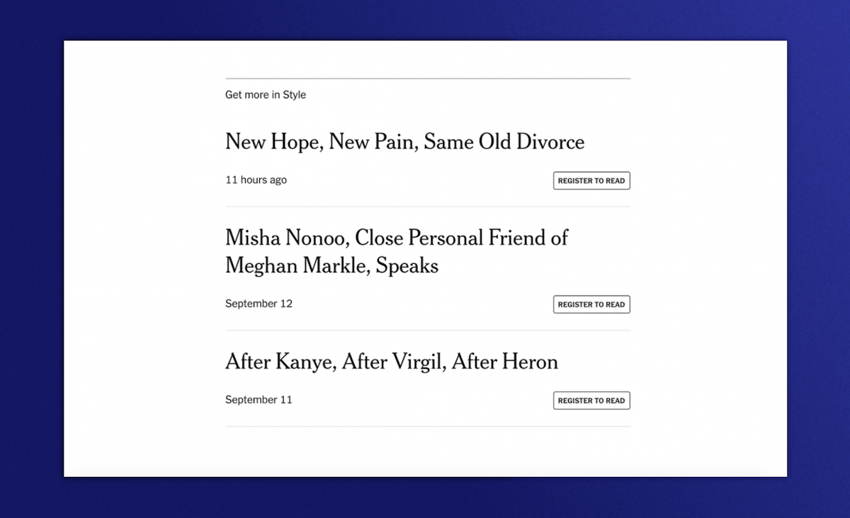 Articles from New York Times with buttons for gated content for subscriptions only