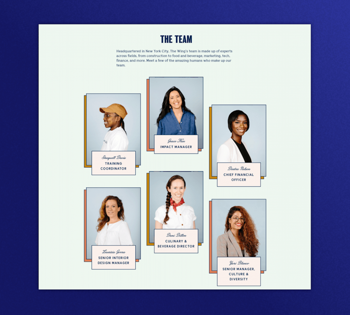Team section for The Wing's website with images of 6 diverse women in their leadership team