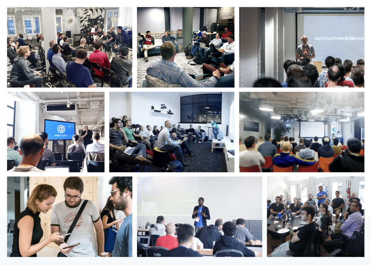 Collage showing groups of developers meeting in various environments