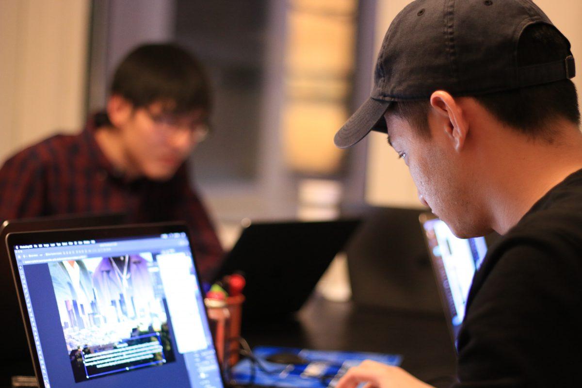 Designer working on laptop