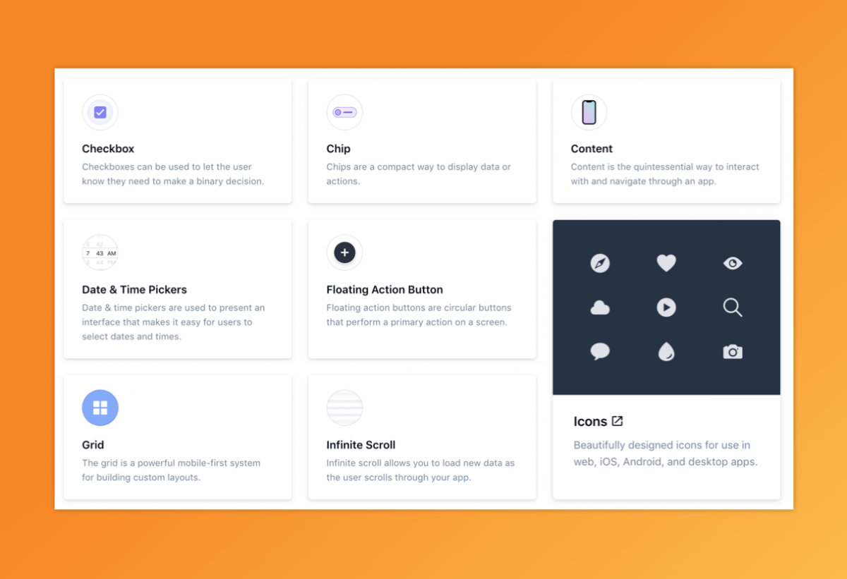 UI components grid including features called Checkbox, Chip, Content, Date & Time Pickers, Floating Action Button, Icons, Infinite Scroll, and Grid