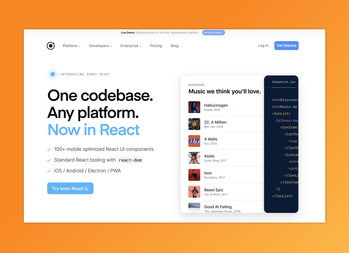 """Ionic homepage with their lead value proposition: """"One codebase. Any platform."""""""