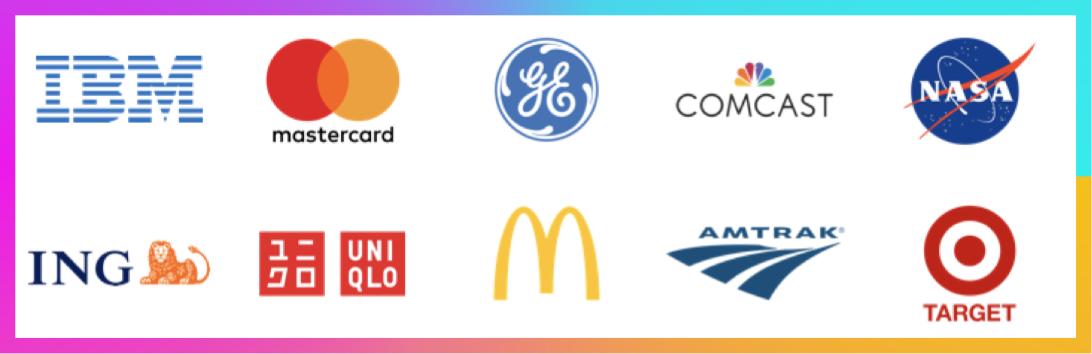 List of logos including: IBM, Mastercard, GE, Comcast, NASA, ING, Uniqlo, McDonald's, Amtrak, and Target