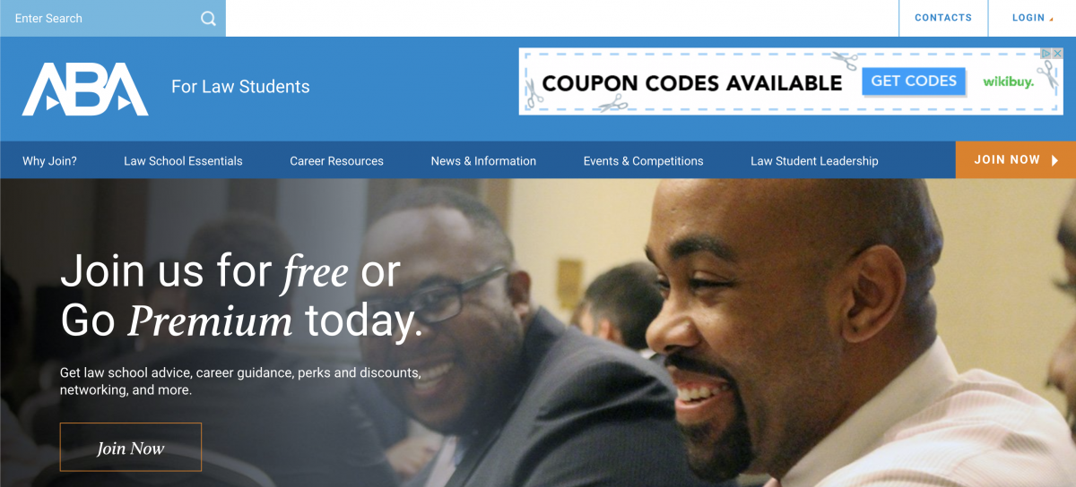 American Bar Association For Law Students homepage