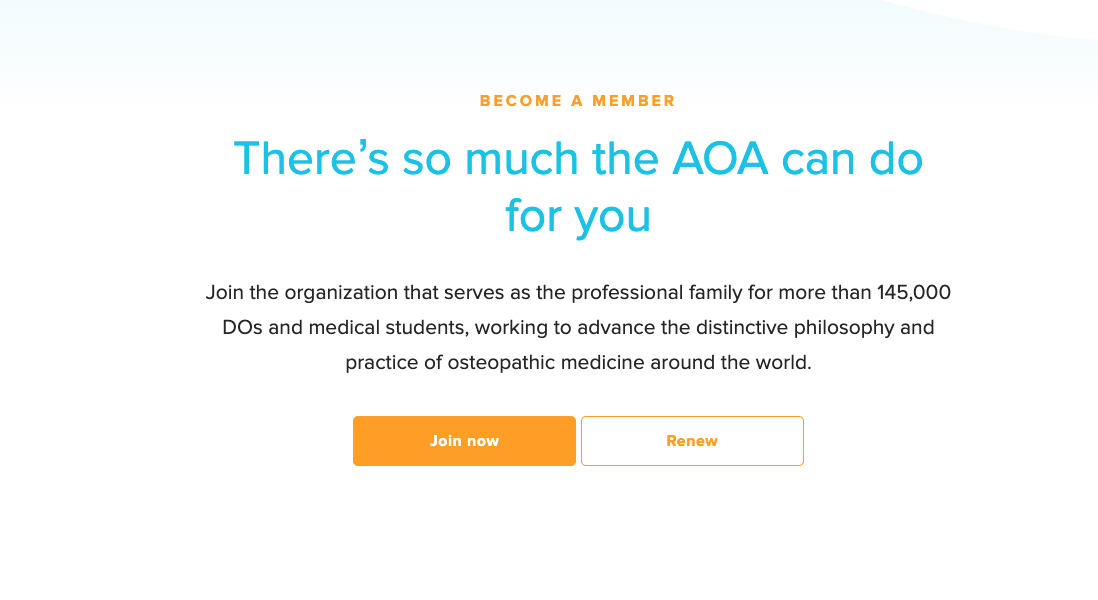 """screenshot of the American Osteopathic Association website with text reads, """"There's so much the AOA can do for you."""""""