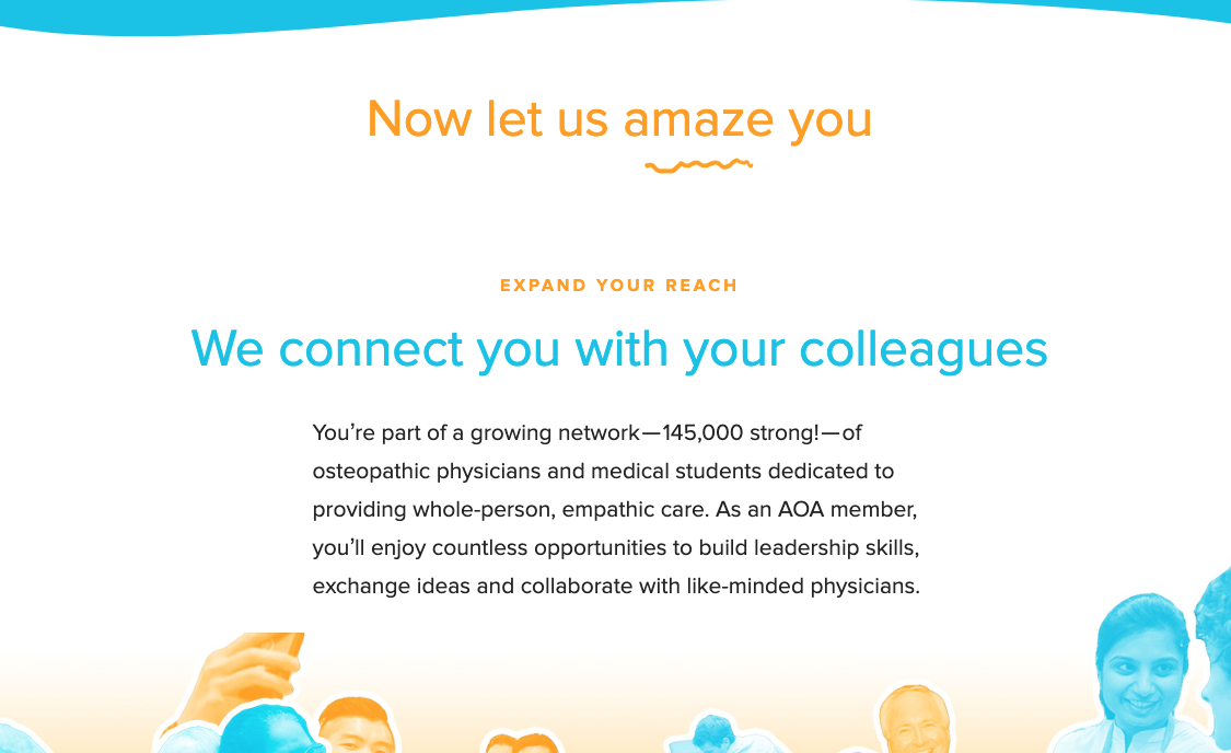 screenshot from the American Osteopathic Association showing members have countless opportunities to connect with their colleagues