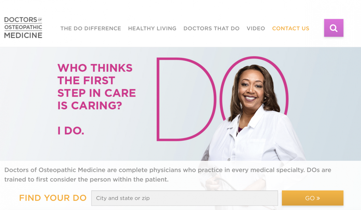 an image of the patient resource center website from the American Osteopathic Association