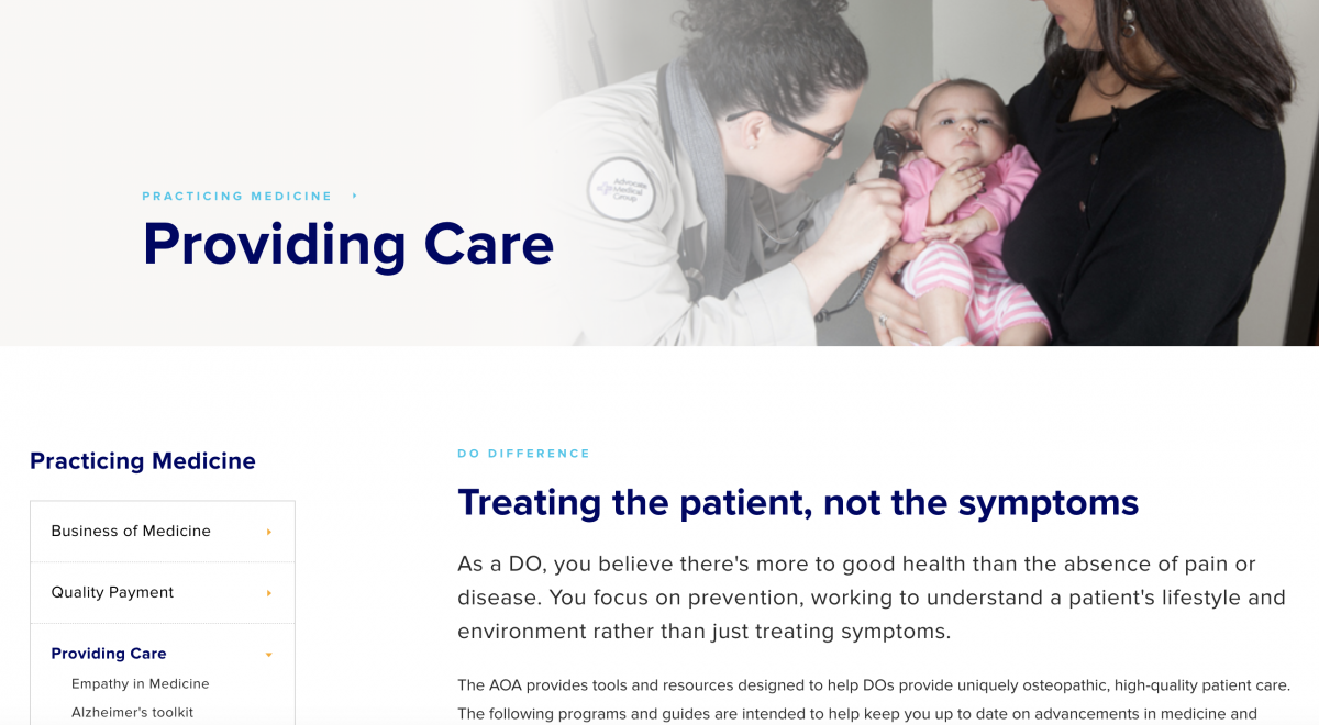 screenshot of American Osteopathic Association website showing information for physicians on how better to interact with patients