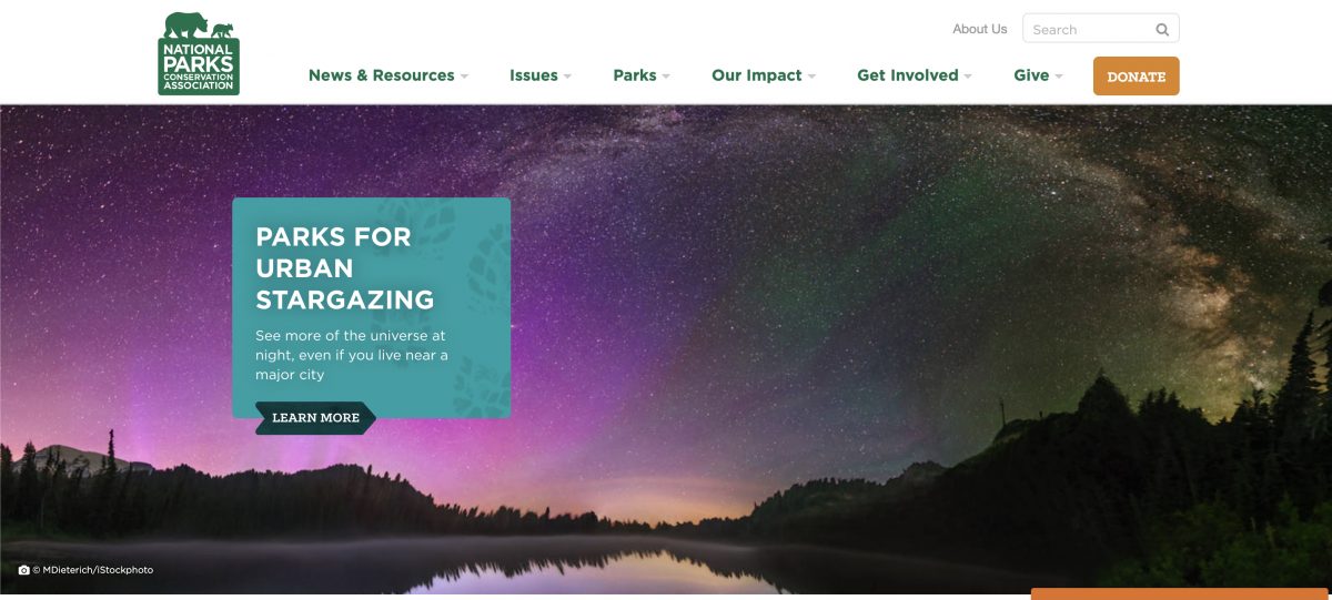 National Parks Conservation Association homepage