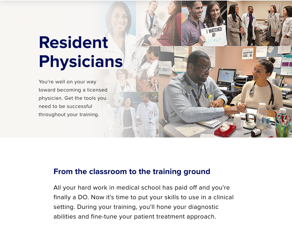 Screenshot from the American Osteopathic Association information portal of the resident physician