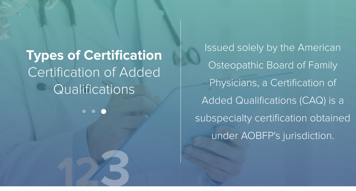 screenshot from American Osteopathic Association website showing types of certification from the organization