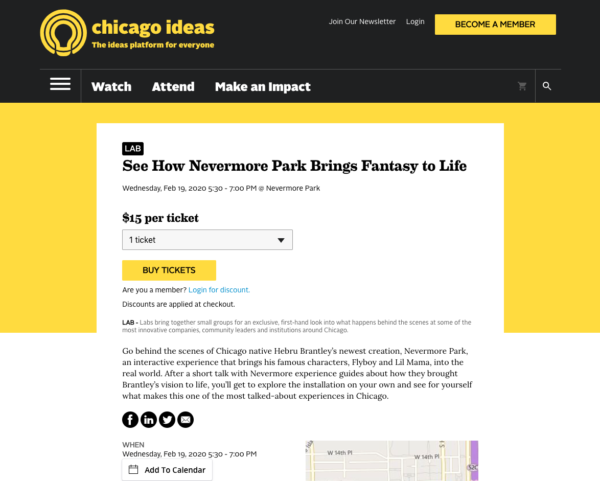 chicago ideas week nevermore park landing page