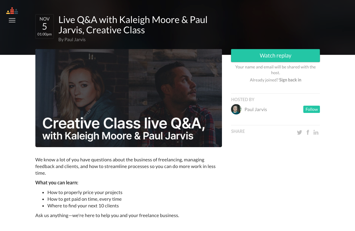 crowdcast landing page for a creative class live Q&A