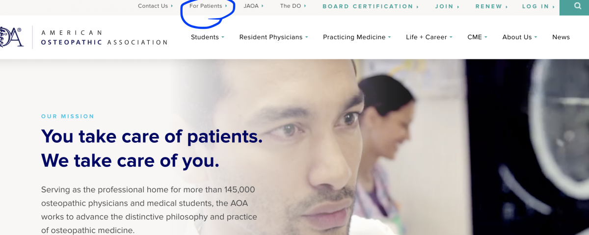 image of the American Osteopathic Association Patient webpage