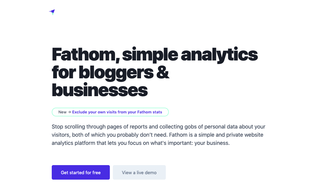 fathom analytics homepage