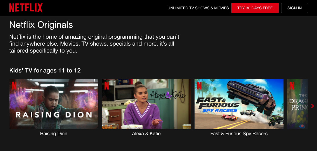 netflix originals landing page with a sample of shows