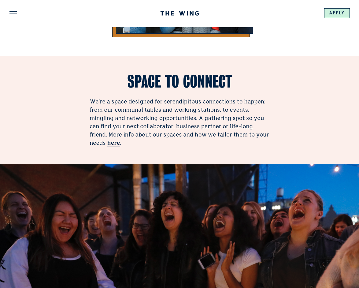 the wing's 'why us' landing page