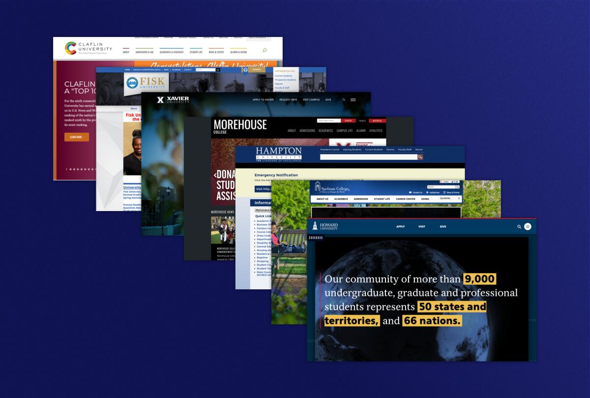 Variety of screenshots from HBCU websites